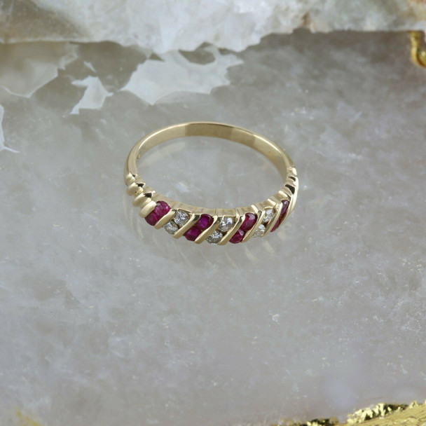 Vintage 14K Yellow Gold Ruby and Diamond Ring 0.75 ct tw Size 9 Circa 1960