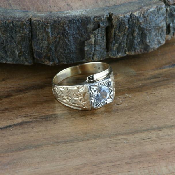 Men's Antique 14K YG Crystal Ring, 5.6mm white center stone, Ring Size 8.25