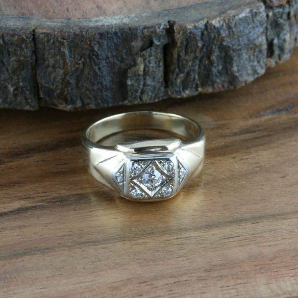 Men's 14K Yellow Gold Vintage Diamond Ring, 1/4ct round center, Ring Size 11.25