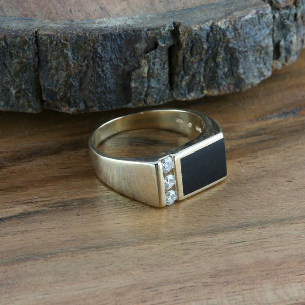 Men's Vintage 14K Yellow Gold Black Onyx and Diamond Ring, Ring Size 11