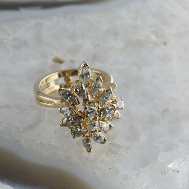 Vintage 14K Yellow Gold 3 ct tw Diamond Cocktail Ring Size 4 7/8 Circa 1960