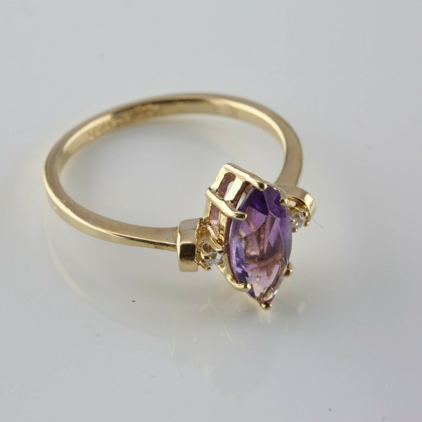 Vintage 14K Yellow Gold Amethyst Diamond Accent Ring Circa 1960 Size 6