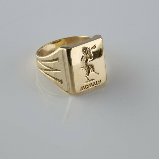 """10K Yellow Gold """"Pan"""" Signet Ring Intaglio Pan Figure with Pipes Size 5"""