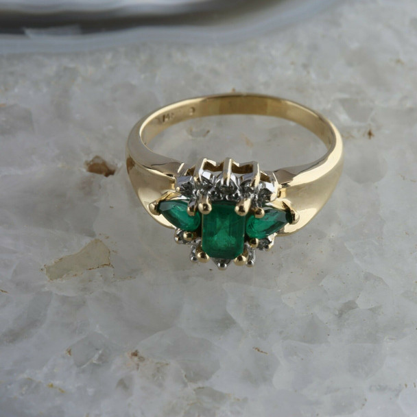 Vintage 14K Yellow Gold Chatham Emerald and Diamond Ring Size 9 Circa 1965