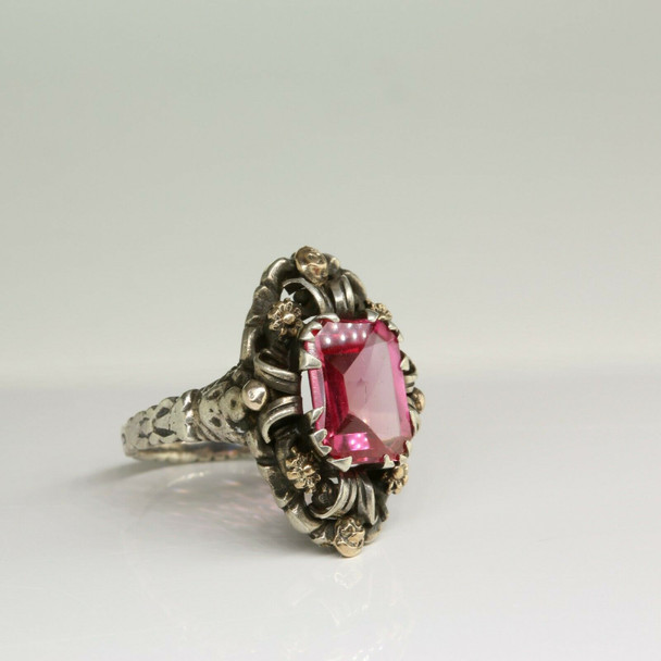 Sterling Silver and 14K Gold Baroque Style Ring Size 5.5 Circa 1950