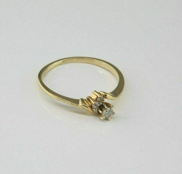 Vintage 14K Yellow Gold Diamond Ring Size 6.5 Circa 1960