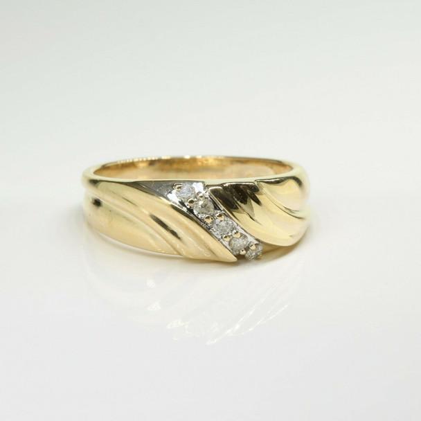 Vintage 14K Yellow Gold Diamond Ring Size 10.75 Circa 1960
