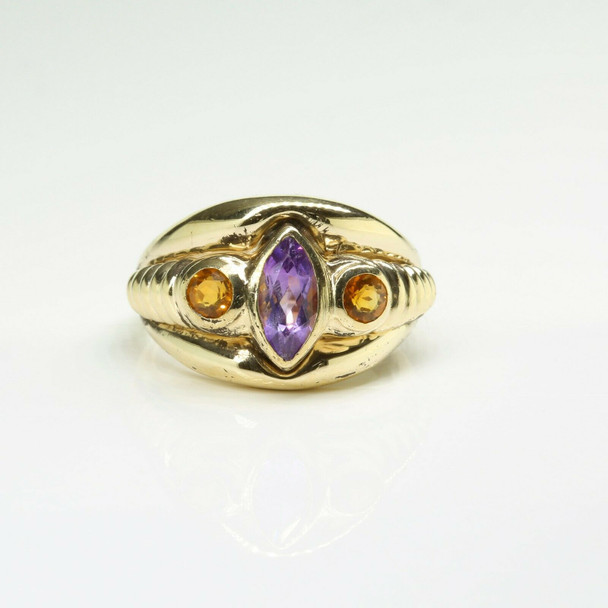 14K Yellow Gold Amethyst and Citrine Ring Size 6 Circa 1970