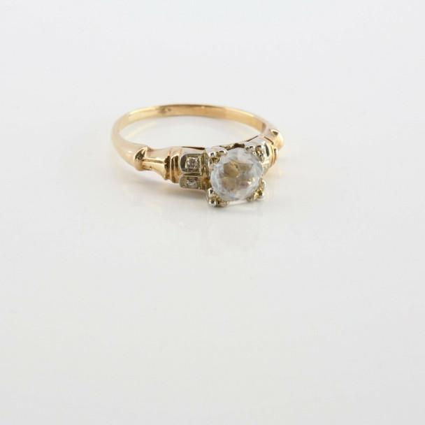 14K Yellow Gold Faux Diamond Art Deco Ring Size 5
