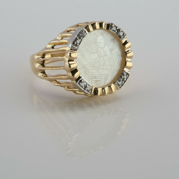 14K Yellow Gold Chinese Mother of Pearl Diamond Accent Ring Size 6.75 Circa 1970