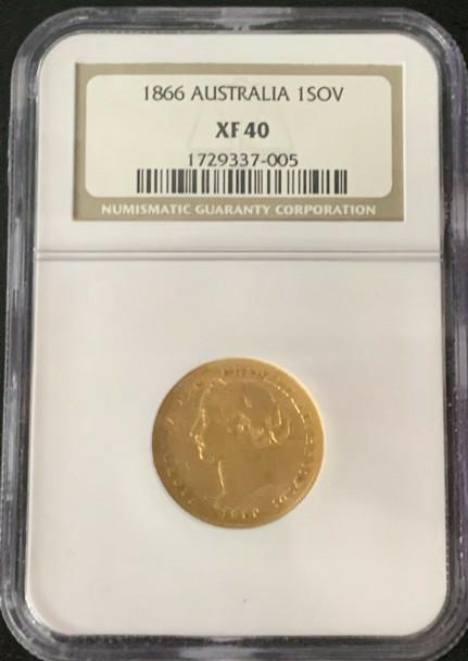 1866 Australia Queen Victoria Gold Sovereign NGC XF 40