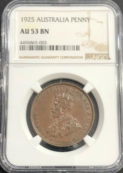 1925 Australia Penny NGC AU 53 BN
