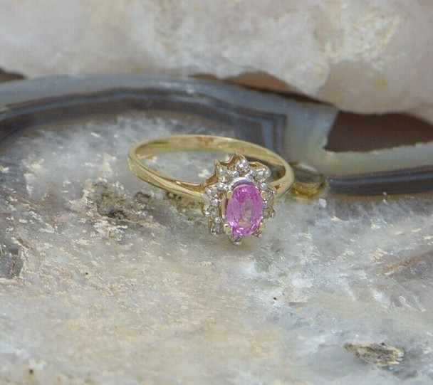 10K Yellow Gold Pink sapphire and Diamond Halo Ring, size 6.5