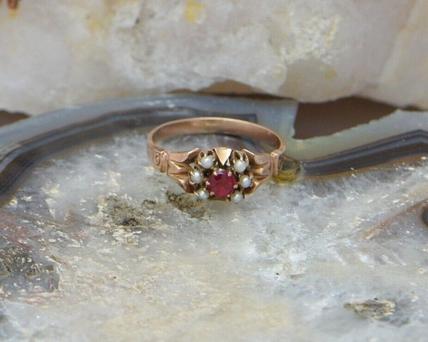 10K Rose Gold Egyptian Revival Ring with Red Stone & Pearl Set 1900's, Size 6.25