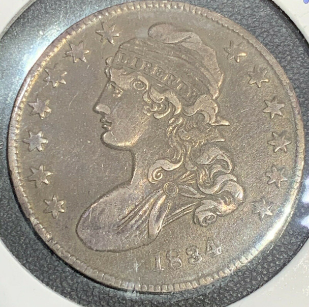 1834 Capped Bust, Lettered Edge Silver Half Dollar