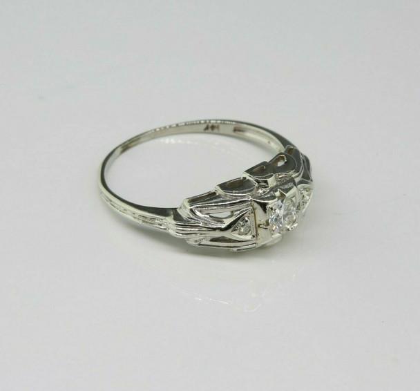Antique 14K White Gold Art Deco Diamond Ring Size 6 Circa 1930