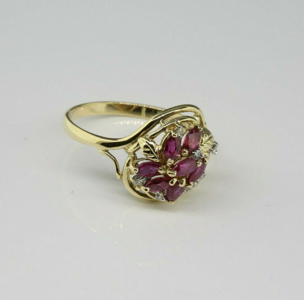 14K Yellow Gold 1 ct. Ruby and Diamond Cocktail Ring Size 6.75 Circa 1960