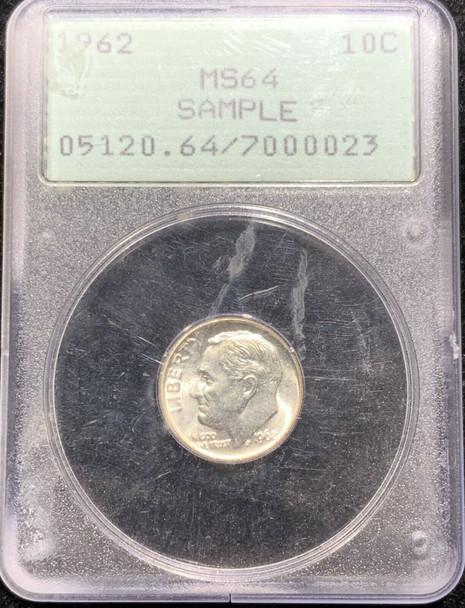 1962 Roosevelt Dime PCGS MS 64 Rattler Sample