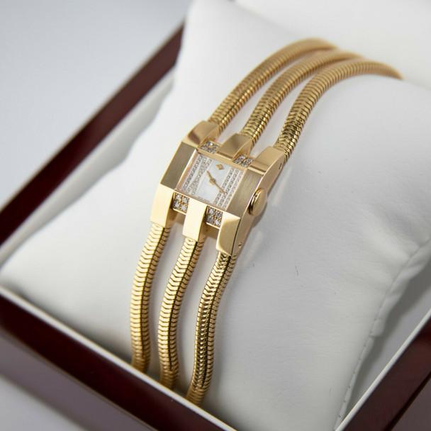 18K Yellow Gold & Diamond Van Cleef & Arpels Retro Modern Watch