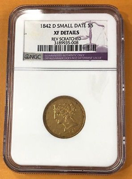 1842-D Small Date $5.00 Liberty Head Gold Half Eagle, NGC XF-Details