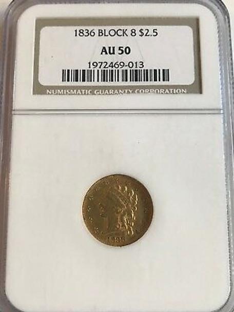 "1836 $2.50 Classic Head Gold Block 8 NGC AU50 ""totally original"""