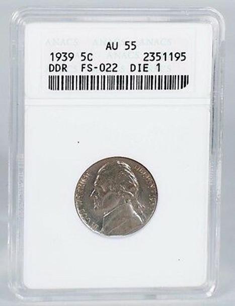 1939 Jefferson Nickel Double Die Reverse FS022 ANACS AU55
