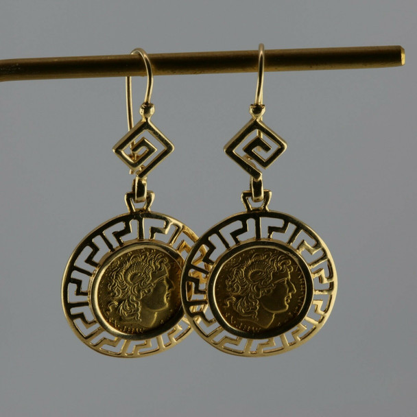 14K Yellow Gold Greek Coin Center with Greek Key Design Earrings