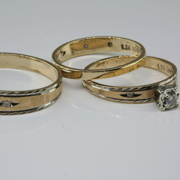 10K Yellow and White Gold 3 Ring His and Hers Engagement Set