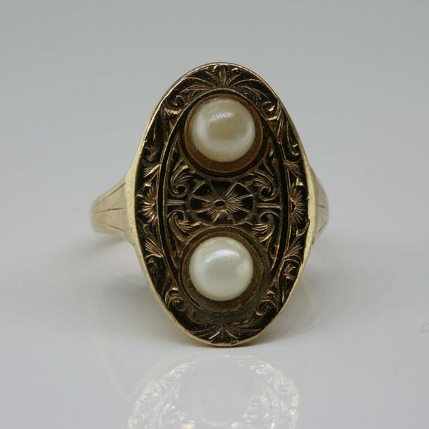 Antique 10K Yellow Gold Edwardian Pearl Ring Size 3.75 Circa 1900