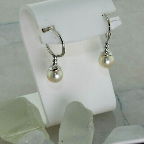 Super 18K White Gold and Pearl Earrings Twisted Rope Design