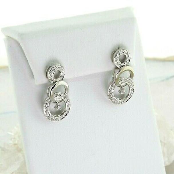 10K White Gold and Diamonds Earrings