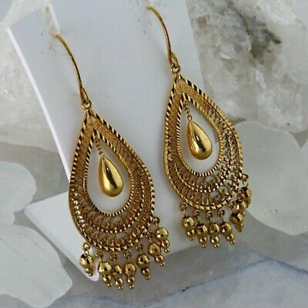 10K Yellow Gold Dangle Earrings Pear Saped