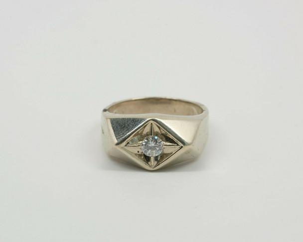 14K White Gold Men's Diamond Ring Circa 1950, Size 9