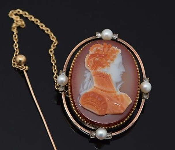 18K Superb Bissinger Signed Yellow Gold Cameo Pendant Brooch Dated 1876