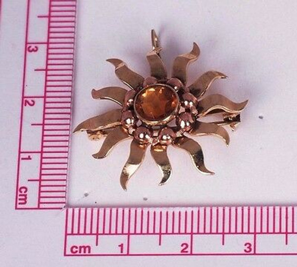 10K Yellow and Rose Gold Sunburst Brooch/Pin or Pendant