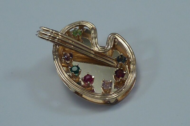 """14K Yellow Gold """"Artist's Palette"""" Brooch/Pin with Multi Colored Stones"""