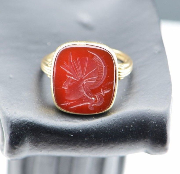 10K Yellow Gold Men's Carved Carnelian Ring Circa 1950's, Size 5.5