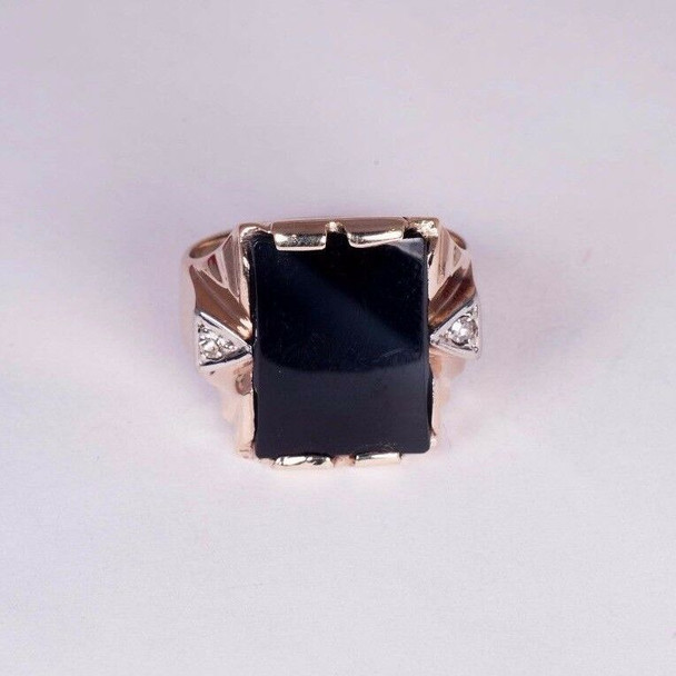10K Rose Gold Men's circa 1930's Deco Black Onyx and Diamond Ring, Size 7.75