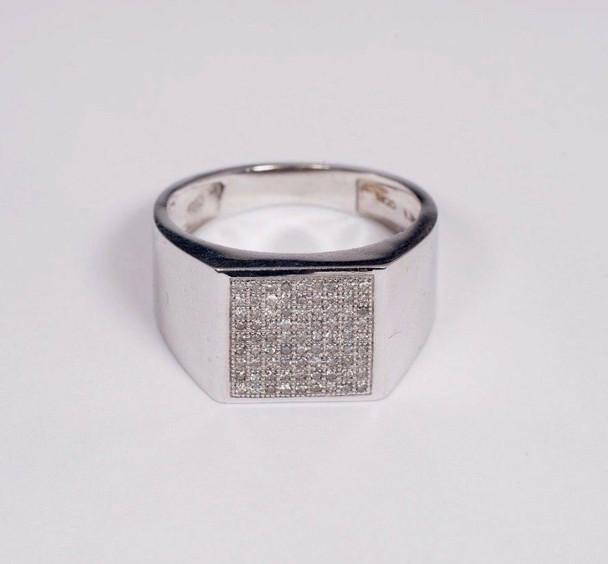 10K White Gold Men's Diamond Chip Ring, Size 10