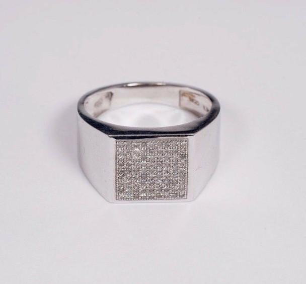 10K White Gold Men's Diamond Chip Ring, Size 10