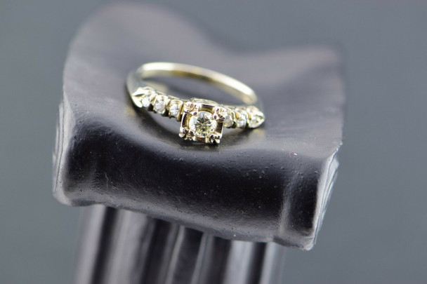 14K White Gold Diamond Engagement Ring Circa 1950, Size 6.75