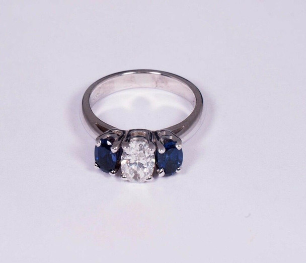 14K White Gold Sapphire and Diamond Engagement Ring, size 6
