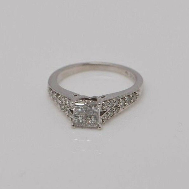14K White Gold Engagement Ring w/4 Princess Cut Center 1.75 ct. tw., Size 7