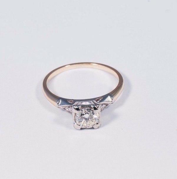 14K Yellow Gold Antique Diamond Engagement Ring, circa 1940s, size 6.5