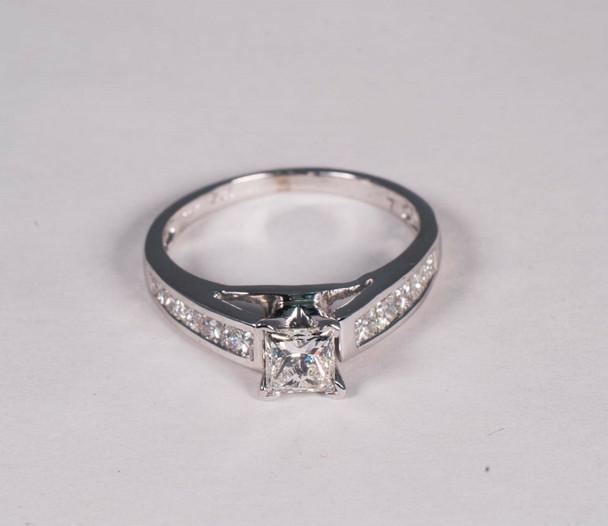 14K White Gold Princess Cut Diamond Engagement Ring, Size 7.5