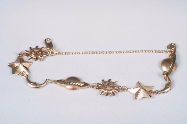 "10K Yellow Gold Celestial Bodies Bracelet, 6.5"" long"