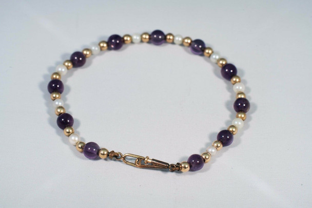 """14K Yellow Gold Amethyst, Pearl and Gold Bead Bracelet, 5.75"""" long"""