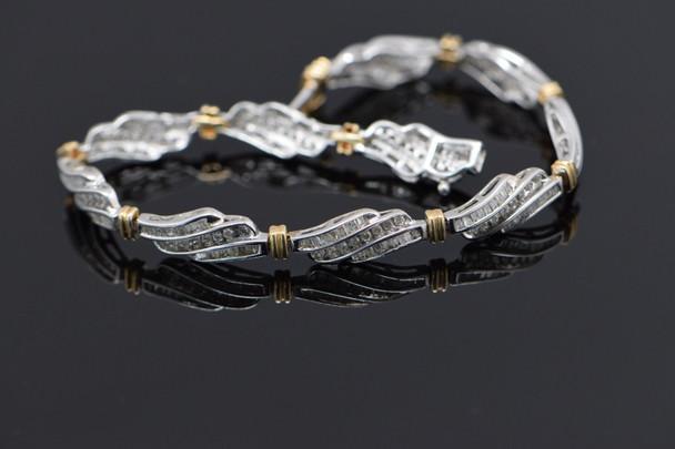 10K White Gold Diamond baguette bracelet 3 ct tw