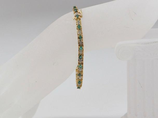 10K Yellow Gold Emerald and Diamond Bracelet