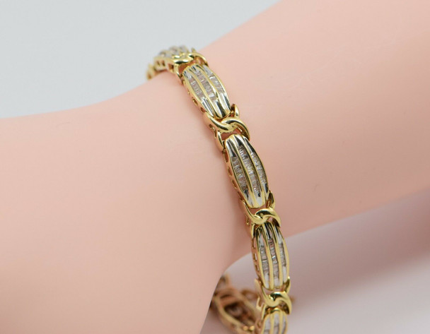 10K Yellow Gold 2 ct. tw. Diamond Baguette Bracelet, 7 inch long